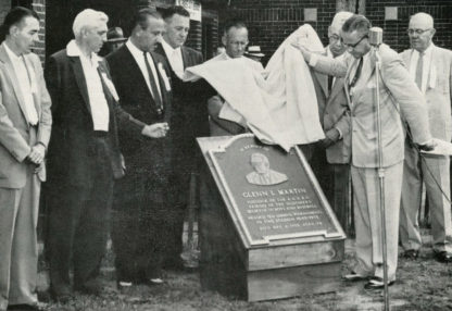 Glenn L. Martin Plaque unveiled, 1956 at Point Stadium